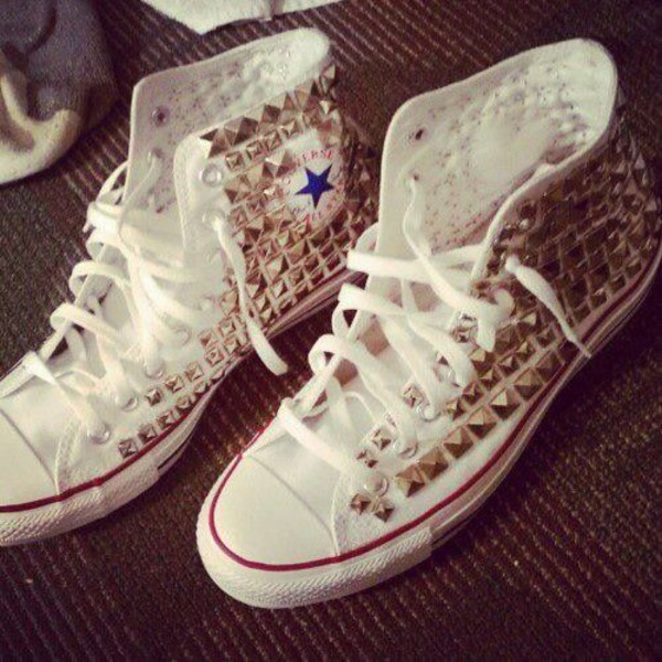 converse converse converse shoes white studs studded shoes gold gold studs