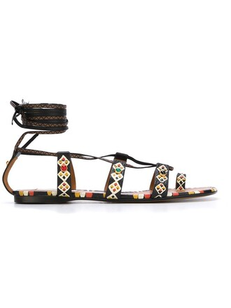 metal women sandals leather black shoes