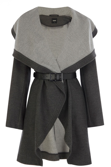 Two Tone Drape Coat | Grey | Oasis Stores