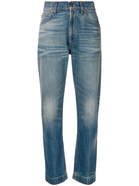 gucci jeans women leather cotton print blue 24