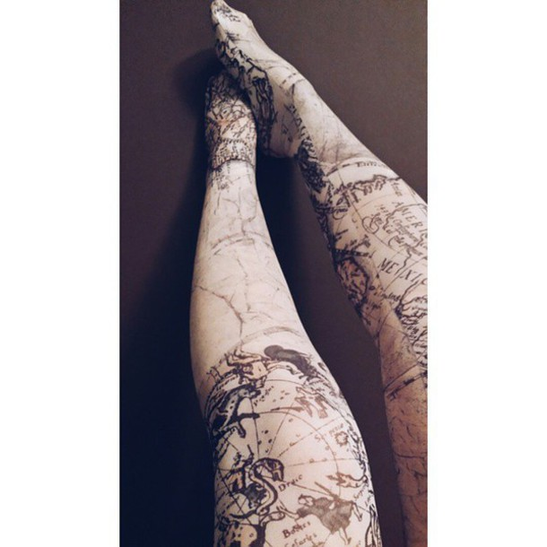 tights map travel map print sailor