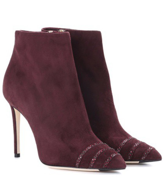 Jimmy Choo suede ankle boots embellished ankle boots suede brown shoes