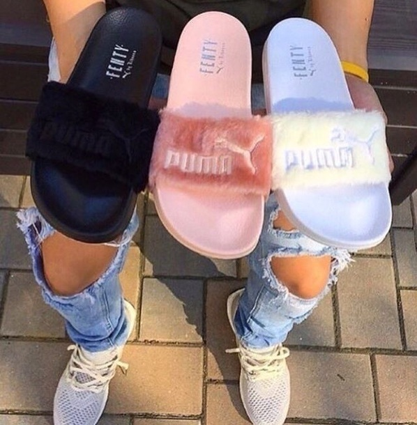 shoes fur sliders pink black white puma fenty x puma slide shoes puma x  rihanna 4fab10411b55