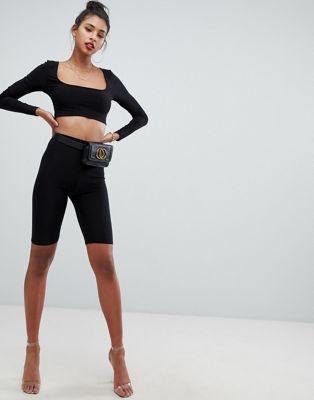 Boohoo slinky legging shorts in black at asos.com