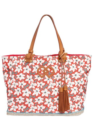 floral cotton white orange bag