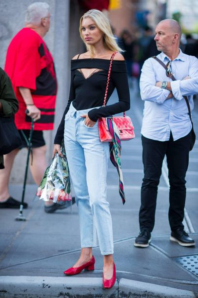 blouse top jeans pumps streetstyle model off-duty fall outfits elsa hosk bodysuit off the shoulder top off the shoulder