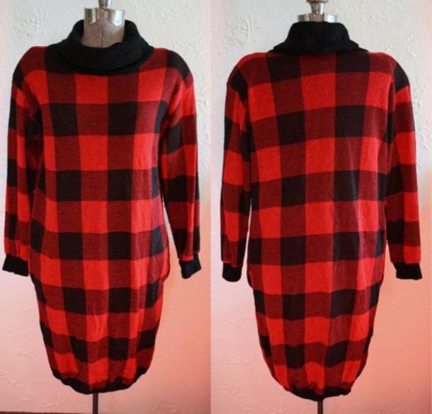 d9848fd7f4 plaid t-shirt shirt long sleeves trendy urban outfitters long dress black  dress red dress