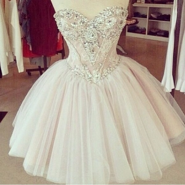 dress white dress short prom dress cute vintage prom prom dress mini prom dress mini dress mini sequence nude dress nude nude mini dress lace sweat heart neckline beaded style diamonds see through corset top zip tan beautiful sparkle crystals prom dress homecoming dress corset dress jewels