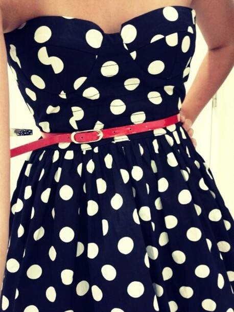 dress clothes girly polka dots pink belt navy blue polka dots polka dots black and white