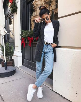 shoes sneakers nike nike shoes white sneakers low top sneakers denim jeans blue jeans cropped jeans blazer grey blazer sunglasses