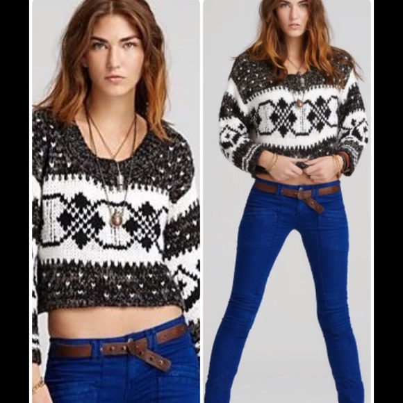 off Free People Sweaters - Fairisle Cropped Pullover from ...