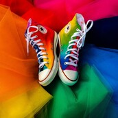 shoes,rainbow,rainbow shoes,converse,tie dye,tie dye converse,handmade,high top converse,high top sneakers,gay pride