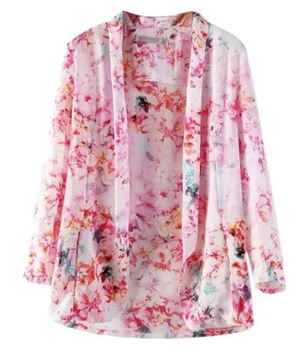 kimono kimono coat pink floral pink kimono lapel coat www.ustrendy.com