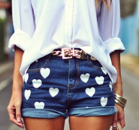 shorts printed shorts heart High waisted shorts blouse white blouse
