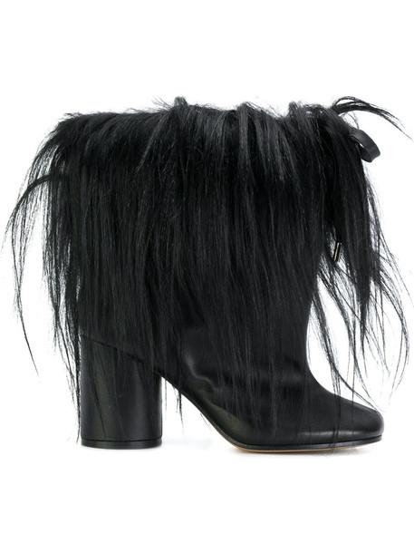 MAISON MARGIELA fur women drawstring ankle boots leather black shoes