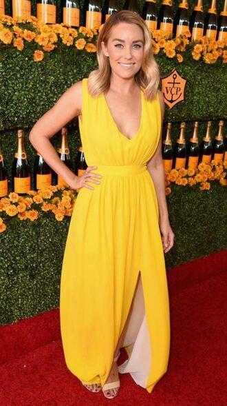 dress maxi dress yellow dress yellow lauren conrad prom dress gown sandals