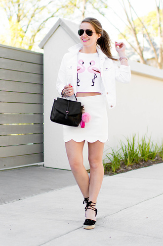 a lonestar state of southern blogger scalloped flamingo white skirt