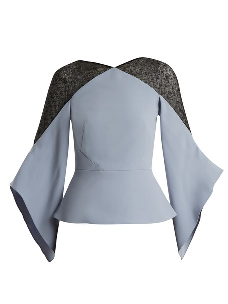 Roland Mouret top lace light blue light blue