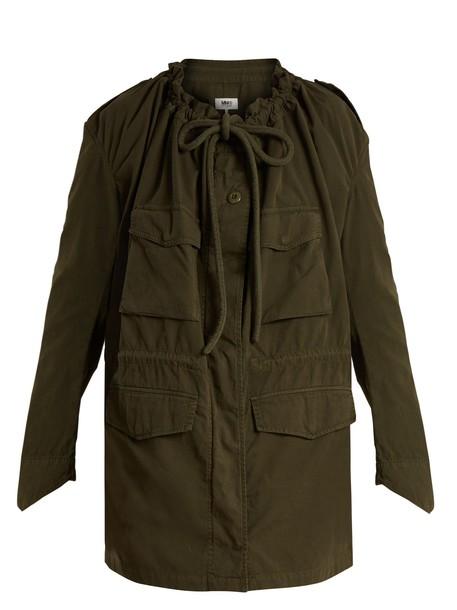 Mm6 Maison Margiela parka drawstring cotton khaki coat