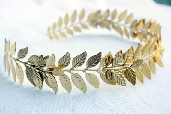 ATHENA Grecian Leaf Headpiece in 24K Gold Plate by PompAndPlumage