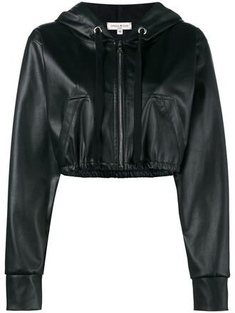 jacket hooded jacket cropped women leather black