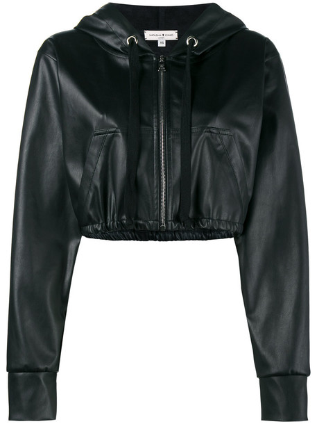 Natasha Zinko jacket hooded jacket cropped women leather black