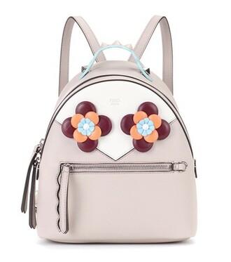 mini embellished backpack leather backpack leather grey bag