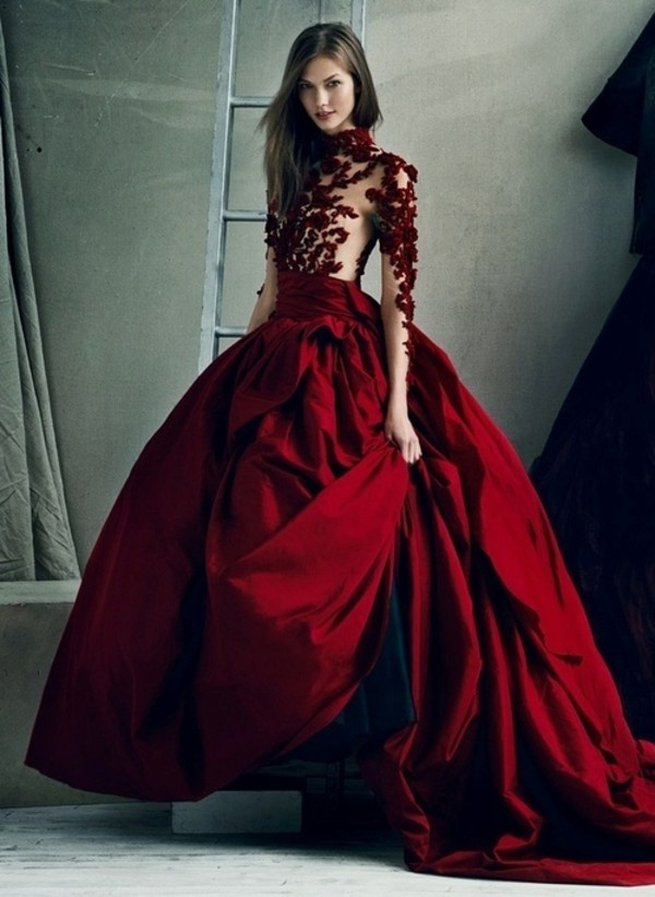 dress, red, flowers, dance, skin, model, long, red dress, long gown ...