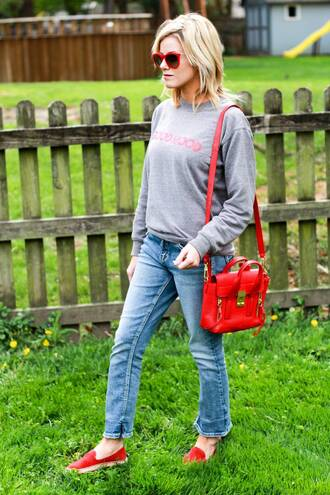 kim tuttle the knotted chain - a style blog by kim tuttle blogger shirt pants jeans shoes bag sunglasses grey sweater red bag shoulder bag red shoes spring outfits