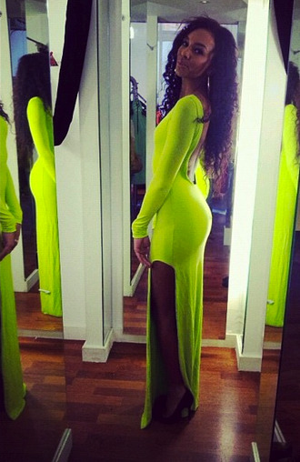 dress gown neon yello slit backless maxi low cut back