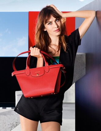 bag purse alexa chung red bag black shorts