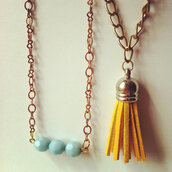 jewels,vintage,yellow,chain,necklace,tassel,mustard,brass,jewelery