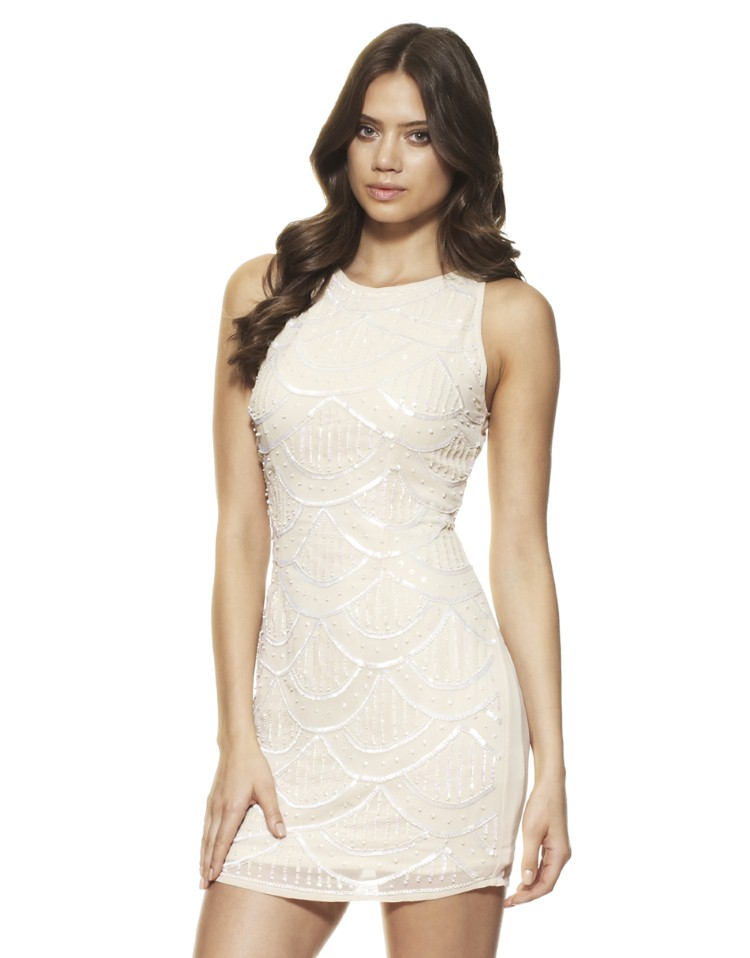 Lace And Beads Dhalia Scallop Embellished Dress