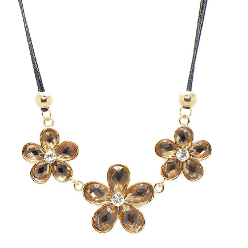 [grxjy5100317]Fashion Three Crystal Flowers Pendant Necklace