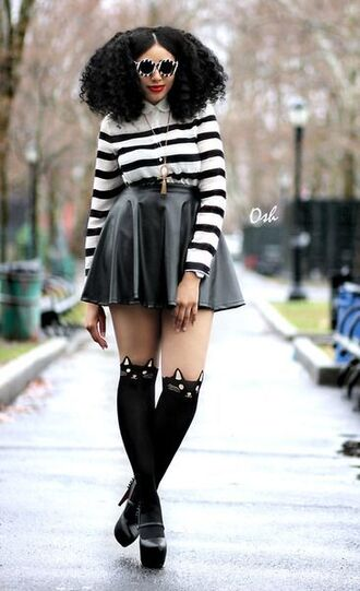shirt stripes striped top striped shirt leather skirt