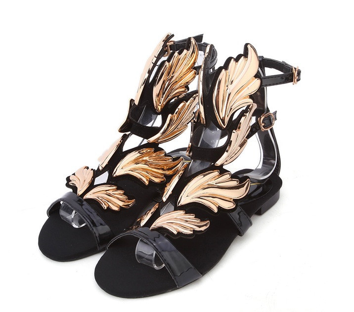 Cruel summer gold flame flat sandals