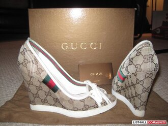 shoes gucci wedges red green brown heels flats white stripes