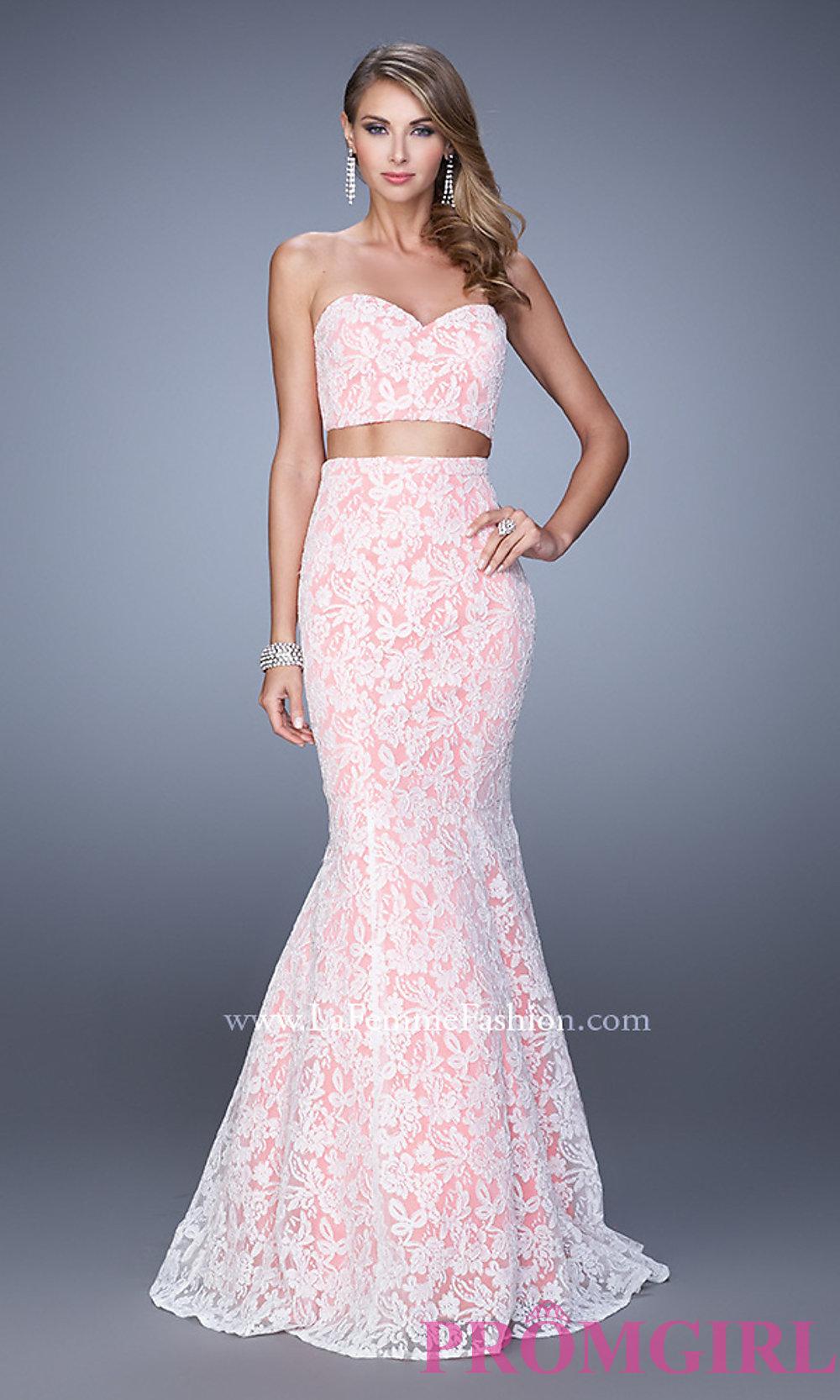 Piece La Femme Lace Prom Dress 21096
