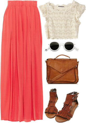 tank top maxi skirt sandals leather bag sunglasses lace shirt