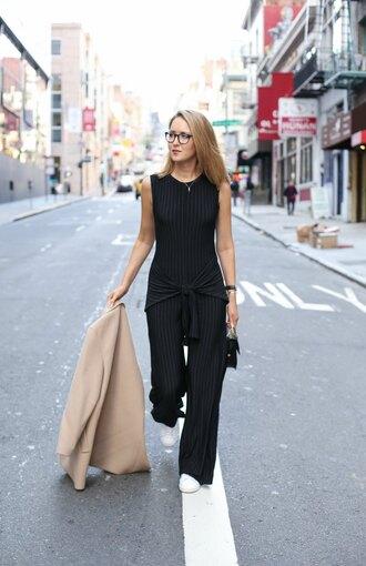 the classy cubicle blogger jumpsuit jewels black jumpsuit blazer mini bag coat dress sunglasses shoes bag belt jeans jacket t-shirt