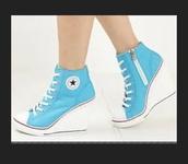 shoes,converse,heels,wedges,wedge sneakers,converse wedges,converse heels,blue sneakers