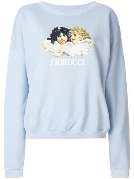 sweatshirt women cotton print blue sweater