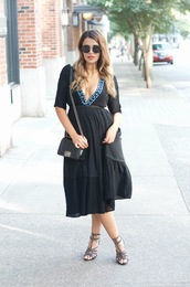 gumboot glam,blogger,dress,shoes,bag,sunglasses,black midi dress,black dress,midi dress,black bag,chanel,chanel bag,chanel boy,shoulder bag,round sunglasses,black sunglasses,v neck,v neck dress,plunge v neck,sandals,sandal heels,high heel sandals,studded sandals