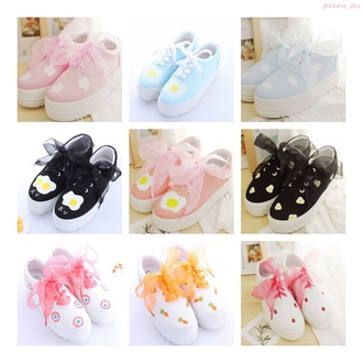 shoes harajuku japanese japanese fashion canvas shoes kawaii kawaii grunge egg clouds strawberry eyes platform shoes japanese streets kawaii accessory pastel pastel shoes pastel sneakers dark