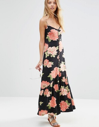 dress button up floral floral dress spaghetti strap maxi dress