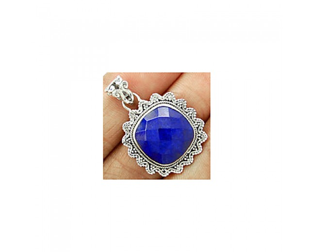 Handmade 925 sterling silver Faceted Lapis Pendant