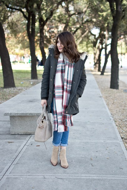 champagne&citylights blogger coat sweater scarf shoes jeans bag winter outfits ankle boots handbag winter coat