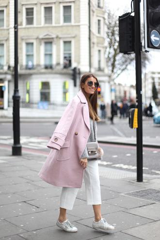 b a r t a b a c blogger sunglasses pink coat grey bag shoulder bag grey sweater white sneakers