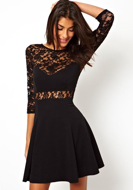 Women's sexy hollow out lace round neck half sleeve splice large hem slim fit lace dresses online