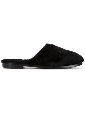 women slippers leather black shoes